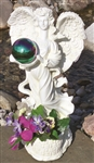 Gazing Globe Angel Garden Statue Planter & Decorative Globe Stand