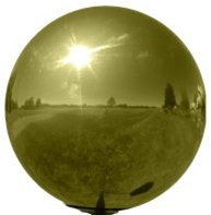 "Gold Gazing Globe - Stainless Steel Garden Ball (3"" To 12"")"