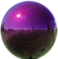 "Purple Gazing Globe - Stainless Steel Garden Ball (3"" To 12"")"