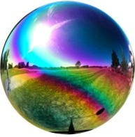 "Rainbow Gazing Globe - Stainless Steel Garden Ball (2"" To 12"")"